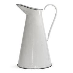 A good-looking large white enamel water jug with black enamel trim to its rim and base.   Year of manufacture: c.1930 - 1950  Origin: England   Material: enamelware  Height: 155cm  Diameter: 26cm  Diameter from spout to handle: 31cm