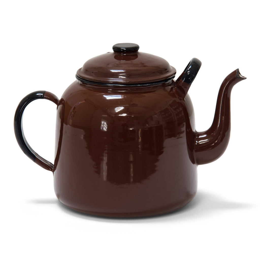 A handsome large brown enamel teapot, canteen size, and capable of delivering around 16 cups of tea.  Enamel teapots deliver a damn fine brew. Year of manufacture: c.1960 Origin: Poland Material: enamelware Diameter 22cm Diameter from handle to spout 32.5cm Height 23cm Condition: clean inside with slight nick to spout