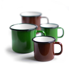 Brown enamel mug