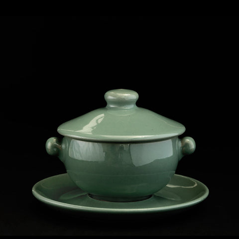 Soup bowl with lid and saucer