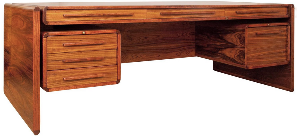 A very rare 1960s executive desk designed by Dyrlund Smith, manufactured in-house by Dyrlund of Denmark.  This expansive skyline desk was recently removed from a London private office where it had remained since it was first bought, and is therefore in immaculate condition.