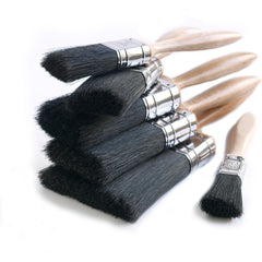 "Professional paintbrushes with ""beavertail"" shaped flattened handles made from beechwood, making them very comfortable and accurate to use and hold.  The hand-bound pure bristle filling is black hog hair which, unlike synthetics, means it will handle oil-based paint equally as well as water-based paints – making the smaller sizes of these brushes ideal for the application of gloss and eggshell on woodwork around the home."