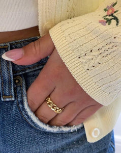 Sharlene Chain Ring in Gold Vermeil - ShopEmie