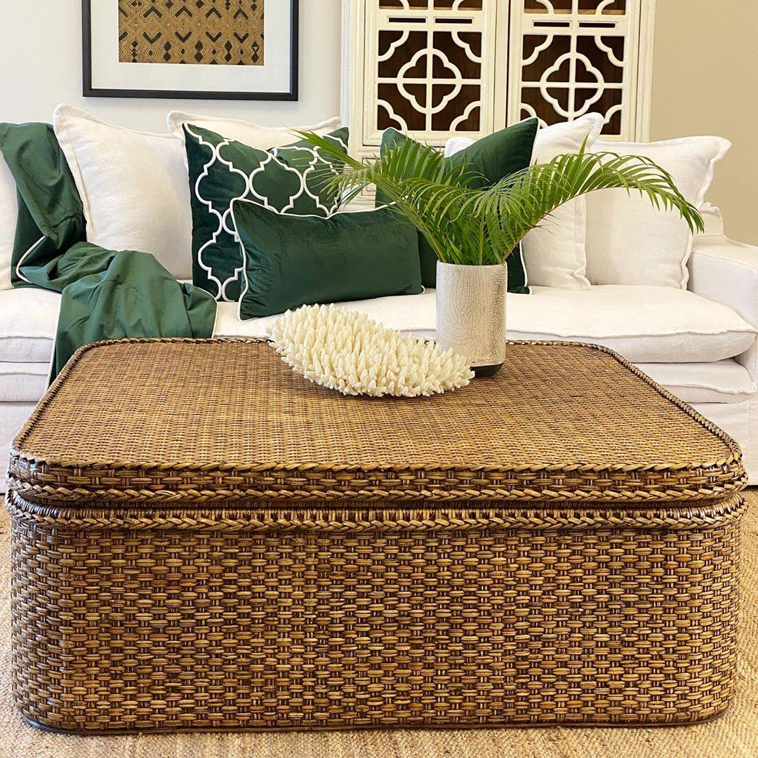 Plantation 120cm Rattan Square Coffee Table Storage Chest Hand Woven Lounge Styles