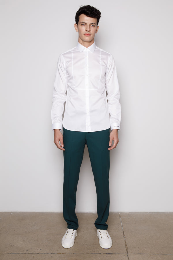 White Bib-Cotton-Poplin Shirt