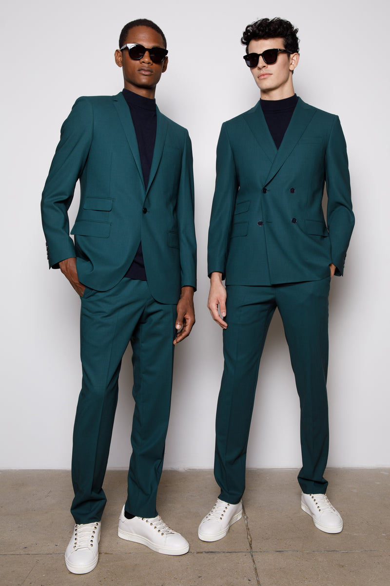 Teal Green-Double Breasted Blazer -two button fasten