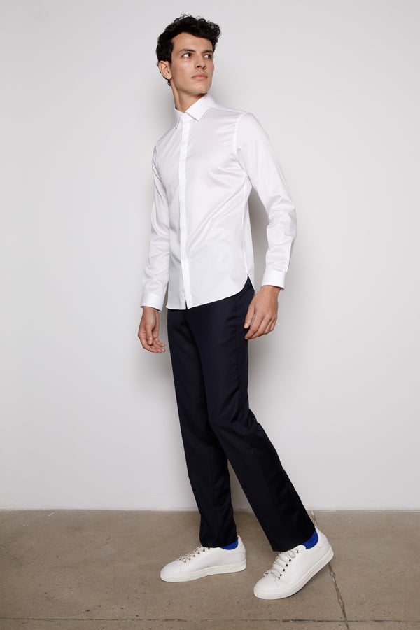 White-Hidden Button-Cotton Poplin-Shirt