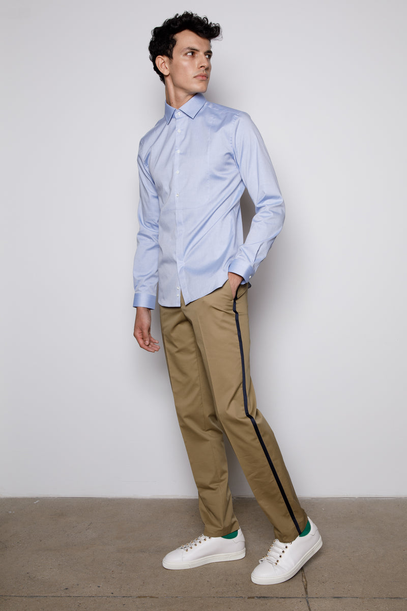 Blue Mist Bib-Cotton - Poplin Shirt