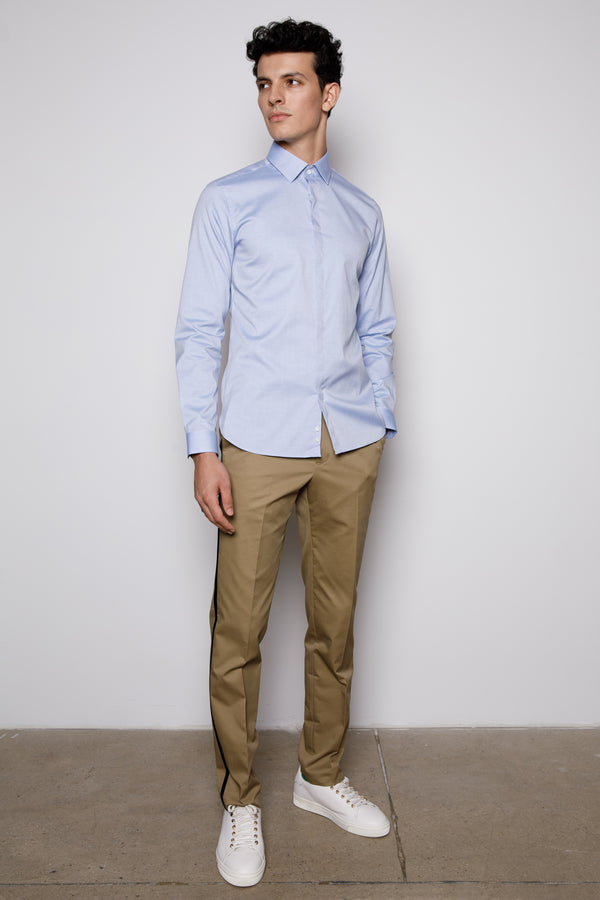 Blue Mist-Hidden Button-Cotton Poplin Shirt
