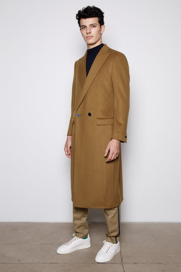 Camel Double Breasted Two Button Long Coat