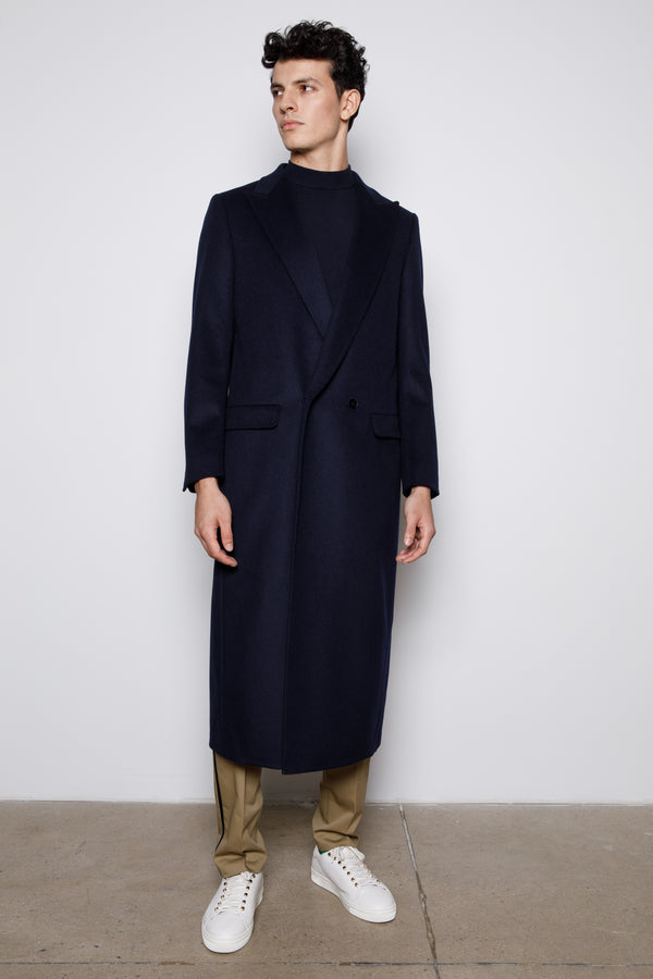 Navy Blue- Double Breasted -Two Button-Long Coat