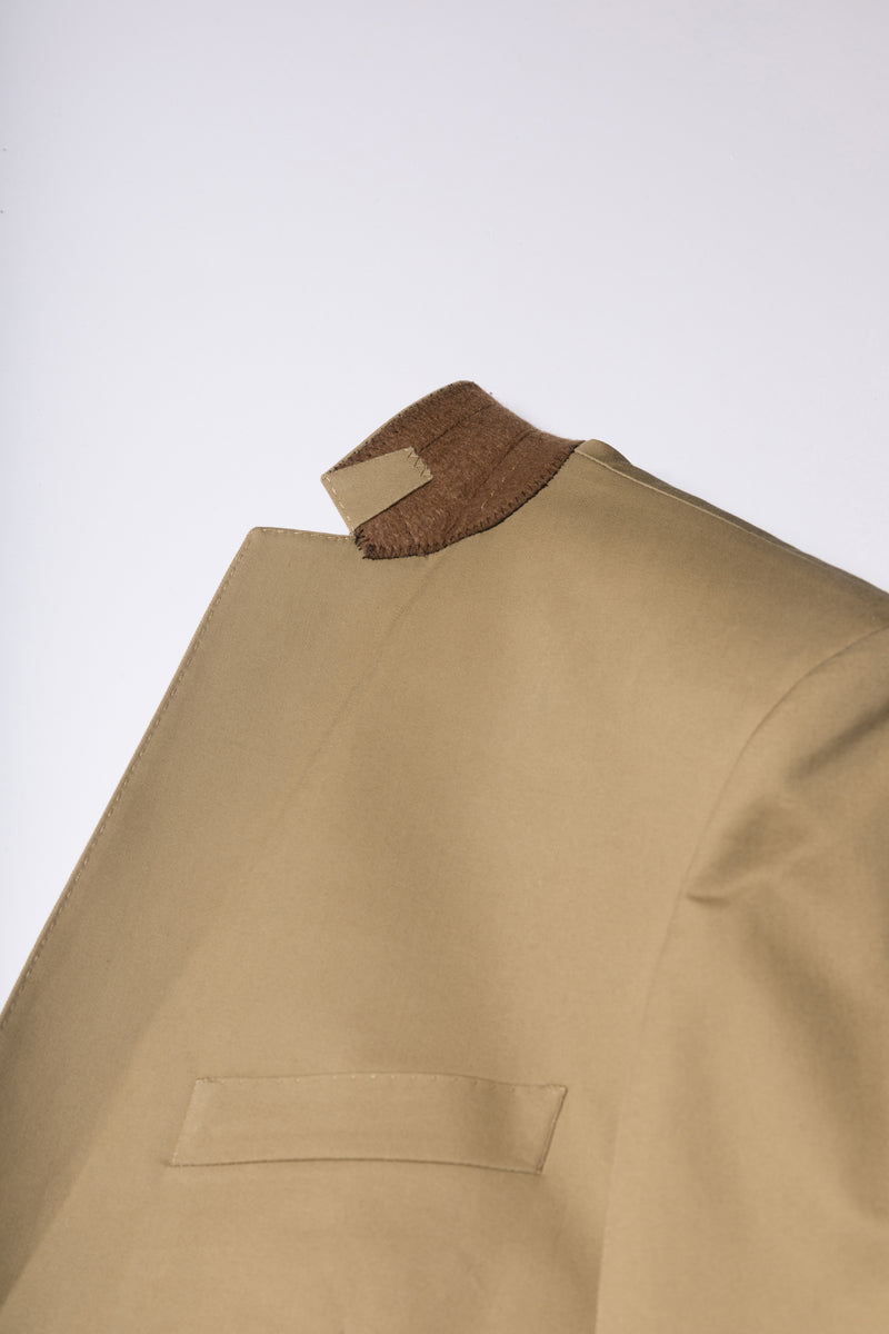 Tan Single Breasted -Cotton Satin Blaze -one Button Fasten