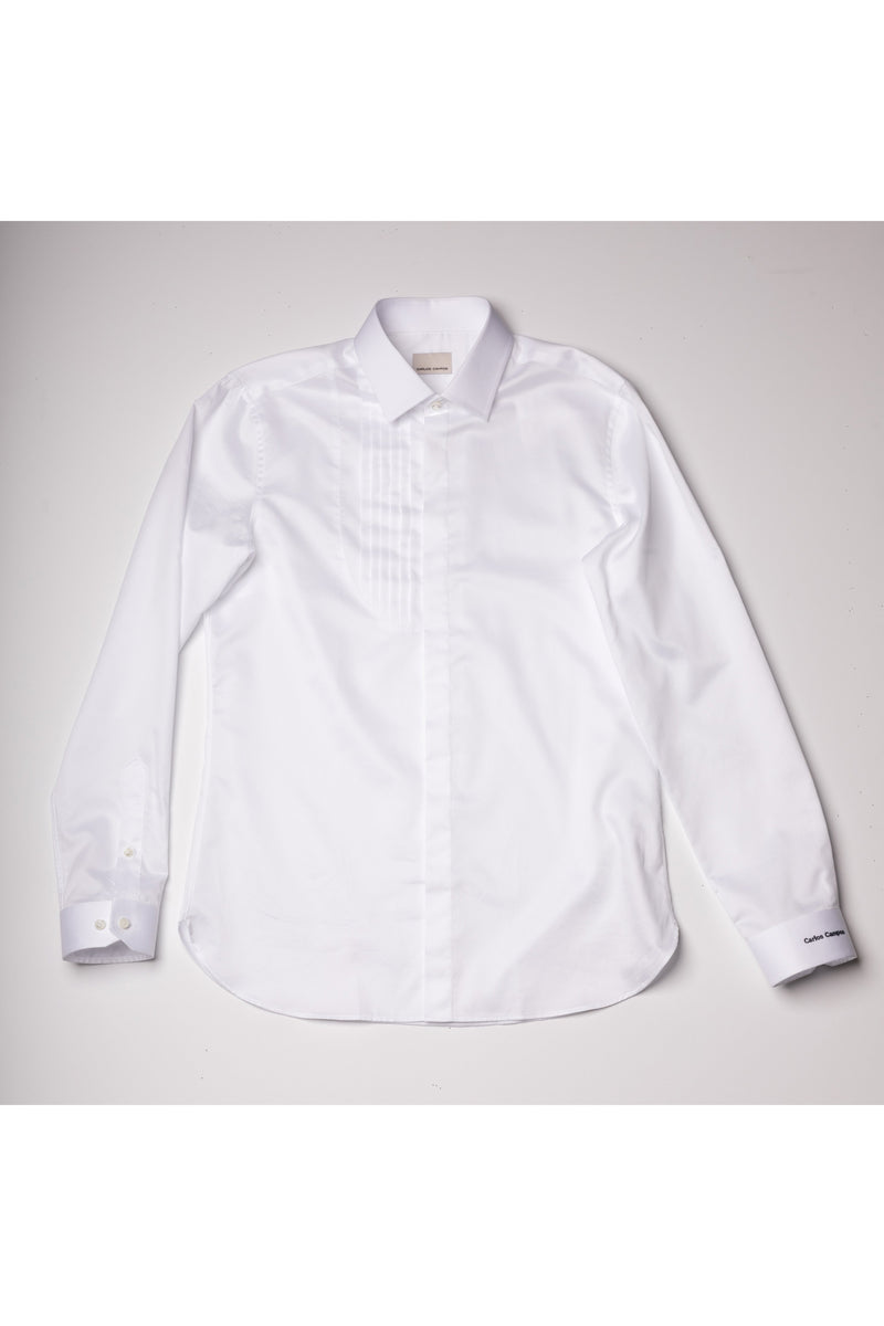 White U Shape 7 Pleats Patch-Cotton Poplin Shirt