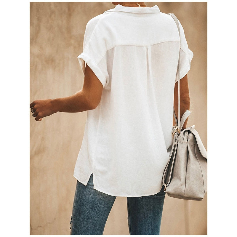 Casual Turn-down Collar Short Sleeve pocket Loose Solid blouse