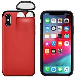 2-in -1 Headset Caps Phone Case Earphone Storage Box For iPhone 11Pro XS MAX XR X 7 8 6 6S Plus Shockproof Solid Color back Cover