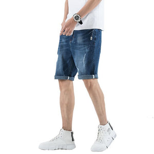 Men Cuffed Jeans Shorts