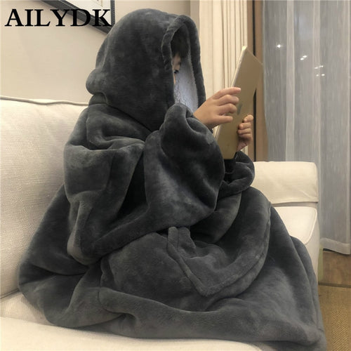 Warm Fleece Hooded Blankets Adults (One size fits all)