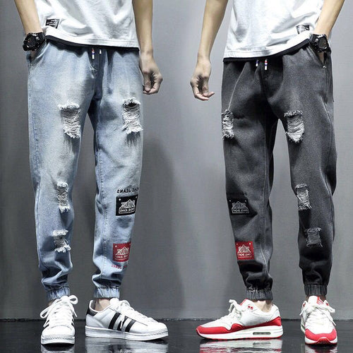 Men's Ripped Jeans High Street Casual Drawstring Denim Pants