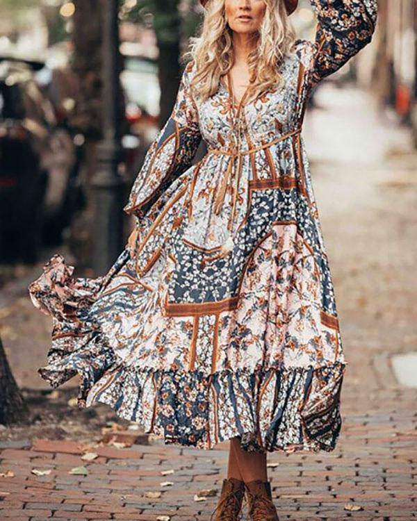 Bohemian Long Sleeve Vintage Dress Retro V Neck Dress