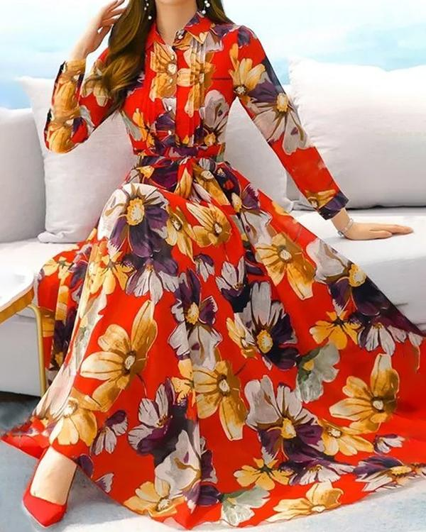 Elegant Floral Collar Maxi X-line Dress
