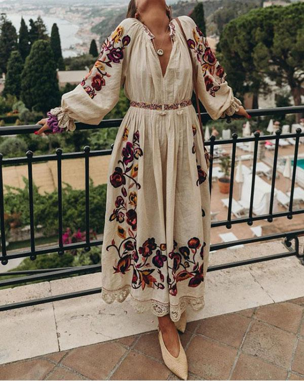 With Vintage Floral Embroidered V-neck Lantern Sleeves