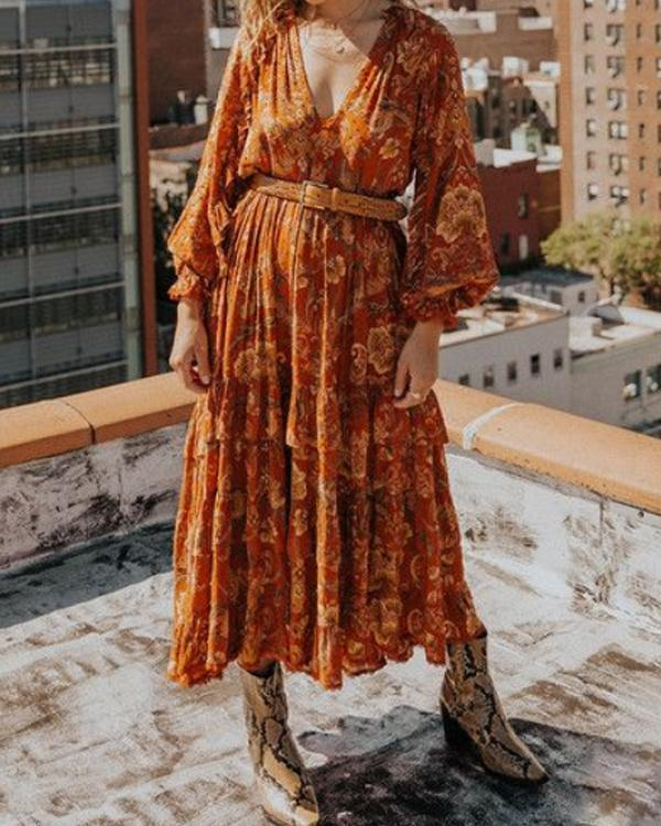 V-neck Print Long Sleeve Dress