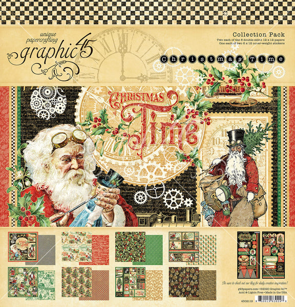 CHRISTMAS TIME 12X12  by GRAPHIC 45 -   WITH STICKERS !! New 2020 COLLECTION !!