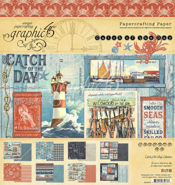 CATCH OF THE DAY  by GRAPHIC 45 -8X8 PAPER PAD - New !