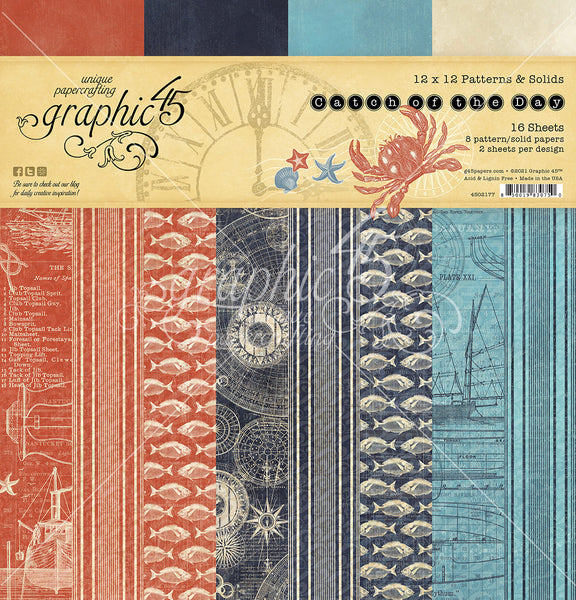 CATCH OF THE DAY  by GRAPHIC 45 -BACKGROUNDS &  SOLIDS - New !