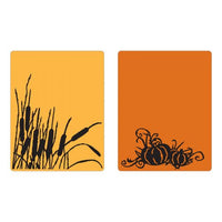 TIM HOLTZ PUMPKINS & CAT-TAILS EMBOSSING FOLDER SET - RETIRED !!