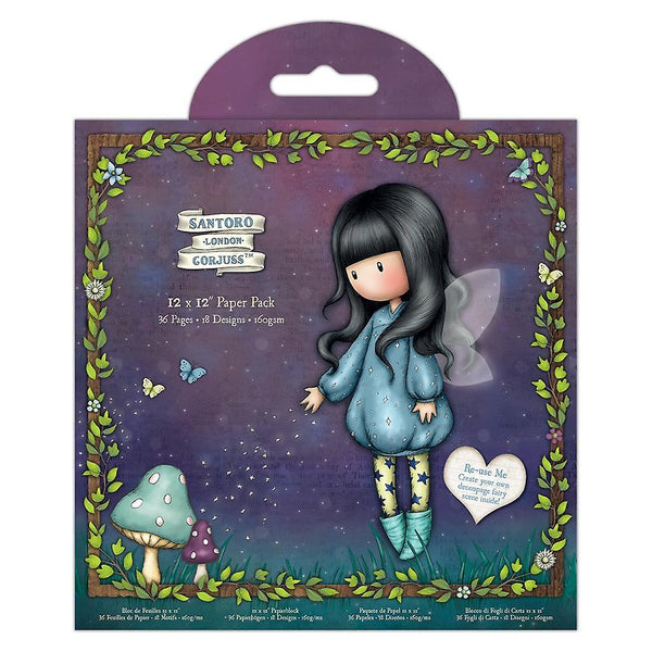GORJUSS FAIRIE FOLKS CARDSTOCK  Pack - 12x12  Santoro of London - Gorjuss Girls - Rare & Retired !!