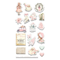 CHRISTMAS SUGAR COOKIE CHIPBOARD STICKERS - 46 Pieces !!  FOIL ACCENTS - NOW IN STOCK !