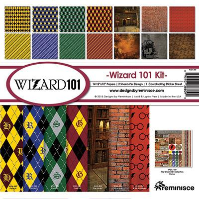 WIZARD 101 by REMINISCE - HARRY POTTER THEME PAPER PACK WITH STICKER SHEET !