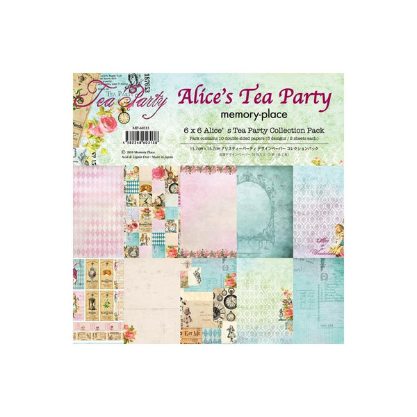 ALICE'S TEA PARTY 12 X 12  - CARDSTOCK COLLECTION - NEW !! - 12 PAGES