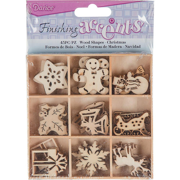 WOOD DIE CUT SHAPES - CHRISTMAS - ACCENTS _ EMBELLISHMENTS - 45 pieces !