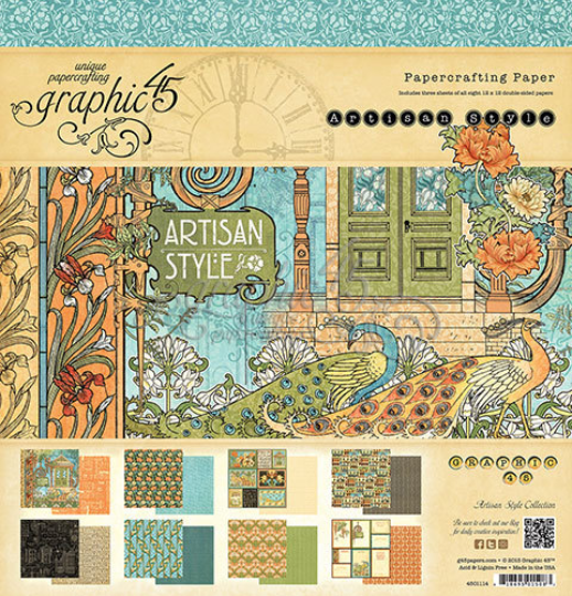 ARTISAN STYLE by GRAPHIC 45 - 12X12 PAPER PAD ONLY w/ a free Slightly Damaged Sticker Sheet