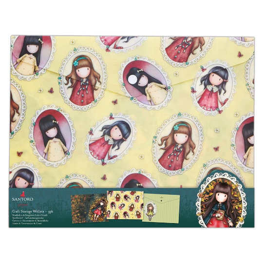 GORJUSS DOCUMENT A4 WALLETs - Set of 3 Different Designs !!  New !!  Santoro of London Gorjuss Girls !