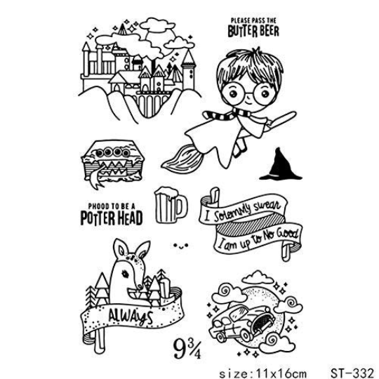 HARRY POTTER CHIBI STAMP SET - RARE !!