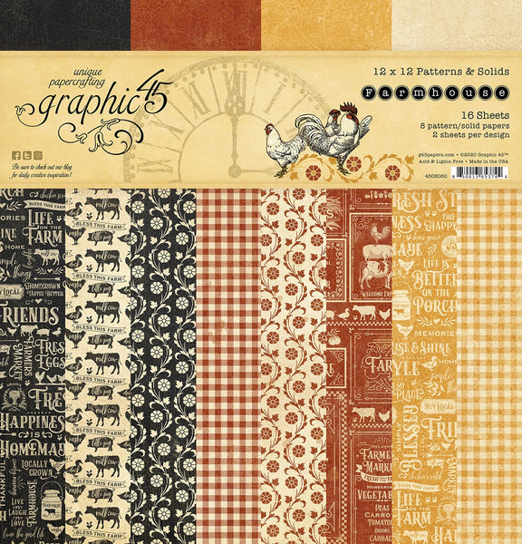 FARMHOUSE BY G45  12x12 PATTERNS & SOLIDS  PAPER   New !! In Stock Now !!