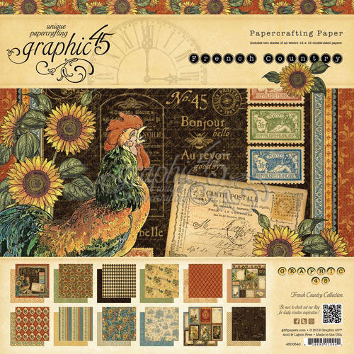 FRENCH COUNTRY Deluxe Collector Edition  by GRAPHIC 45-   12X12 PAPER PAD w/  STICKERS & CHIPBOARD