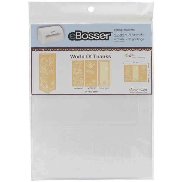 "WORLD of THANKS by EBOSSER -- 8.5""x 11"" Embossing Folder-  Brand New in Pkg- Last One !"