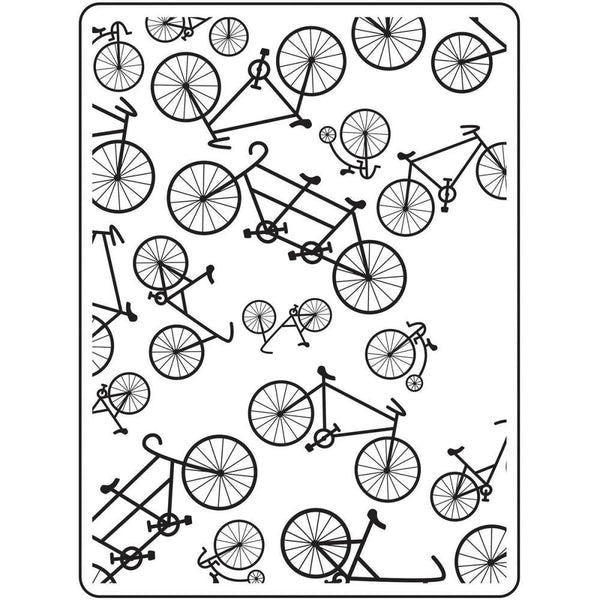 BICYCLES  - HAND DRAWN  -   EMBOSsING FoLDeR - A2  -  New !!  Multiple Bikes EMbossing Folder