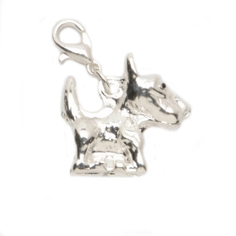 YORKIE DOG  CHARMs -  Lobster Clasp Charm - Cute Little Silver Dog