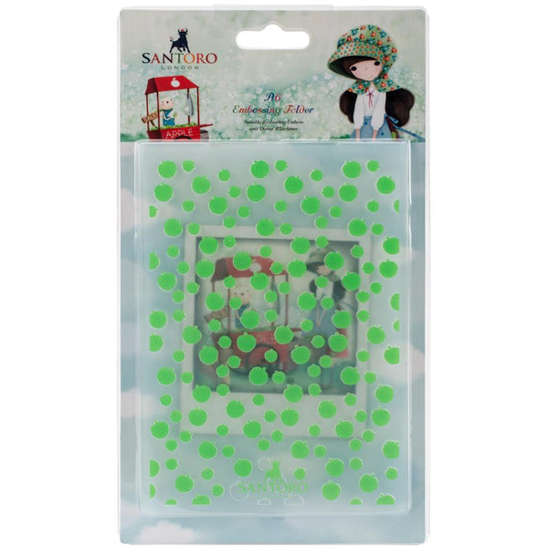 An APPLE a DAY - Santoro KORI KUMi EMBOSsING FoLDeR - A6 New !  Very Beautiful for  Card Making - Tiny Apples !!
