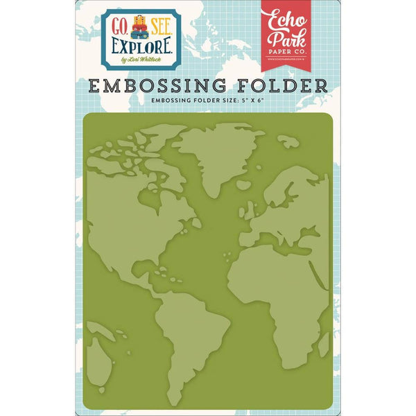 WORLD MAP EMBOSSiNG FOLDeR -  Echo Park  - Go, See & Explore Collection  5x6 - RARE !! GSE127031
