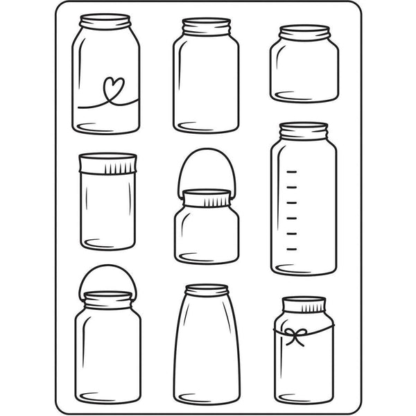 MASON JARs  - HAND DRAWN  -   EMBOSsING FoLDeR - A2  -  New !!