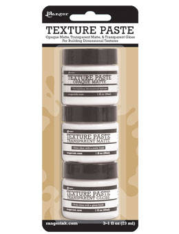Tim Holtz TEXTURE PASTE TRIO - from RANGeR -  MIXeD MEDiA and STENCILs  - use with Palette knife