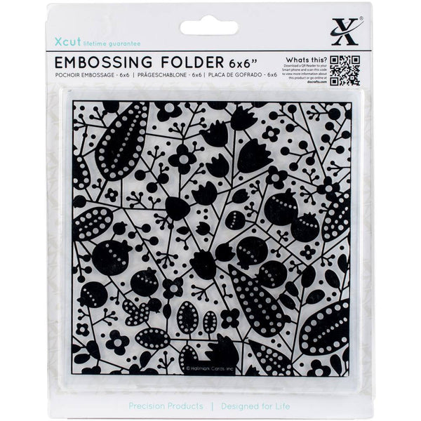 "BERRIES 6""x6"" EMBOSSING FOLDER by XCUTs  - The Best  6""x6"" Square Design Folders on the Market ! Rare !"