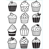 CUPCAKES  EMBOSSiNG FoLDER -  New !!  by Darice  A2 SiZE - * PARTY CUPCAKEs,  ICE Cream, CAKEs, etc>