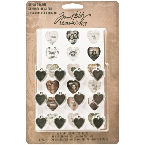 Tim Holtz VALENTINEs HEART CHARMS by  - JEWELRY CHARMs for VALENTINEs Day Scrapbooks, Love Themes, Boxes, Necklaces etc.